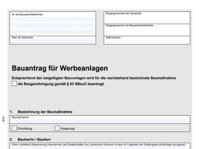 Bauanträge für Werbeanlagen in Niedersachsen