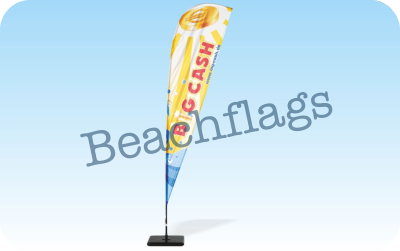 Beachflags in verschiedenen Höhen