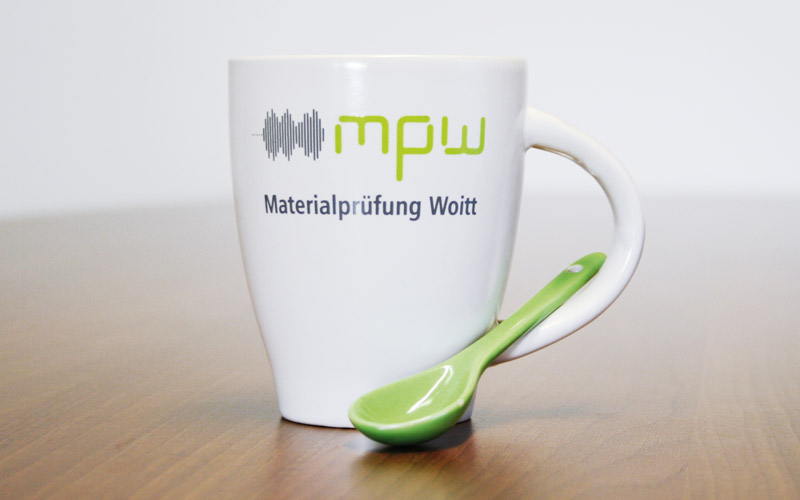 Tasse mit Aufdruck für Firma Woitt